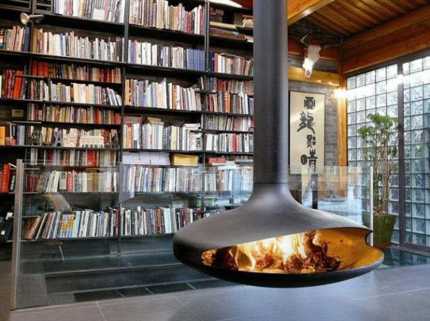 Kamin-Metall-gemütliche-Leseecke-Wohnzimmer-einrichten